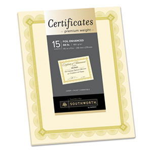 Southworth - Premium Certificates, Ivory, Spiro Gold Foil Border, 66 lb.,  8.5 x 11 -  15/Pack