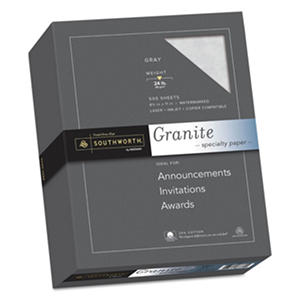 Southworth - Granite Specialty Paper, Gray, 24 lbs., 8-1/2 x 11, 25% Cotton -  500/Box