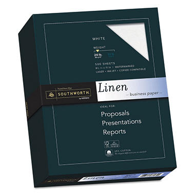 Southworth - Fine Linen Paper, 24lb, Various Colors - Ream