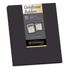 Southworth - Certificate Holder, Black, Linen, 12 x 9-1/2 - 10/Pack
