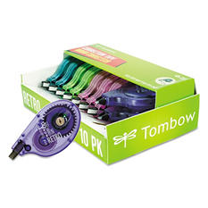 "Tombow - MONO Correction Tape, Assorted Retro Color Dispensers, 1/6"" x 394"" -  10/Pk"