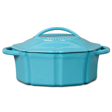 Isaac Mizrahi 6 qt Cast Iron Dutch Oven with Lid - Blue