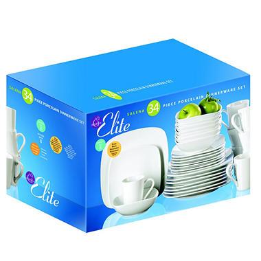 Gibson Elite Salena Square Porcelain Dinnerware Set - 34 pc. - White