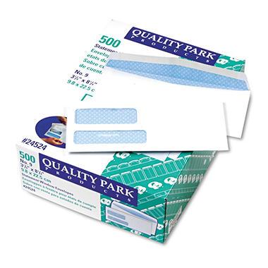 Quality Park - Double Window Envelopes, #9, Security Tint, Gummed - 500 Count