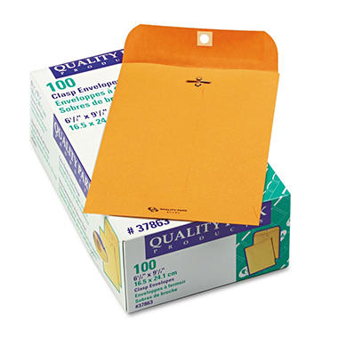 Quality Park - Clasp Envelope, 6 1/2 x 9 1/2, Brown Kraft - 100/Box