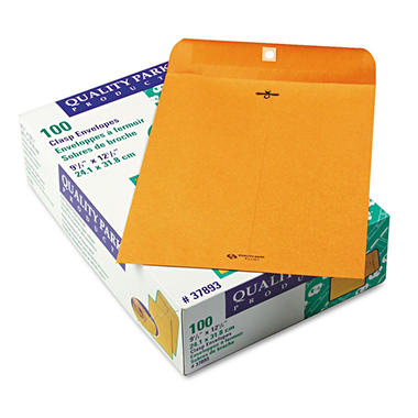 Quality Park - Clasp Envelope, 9 1/2 x 12 1/2, Brown Kraft - 100/Box
