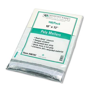 "Quality Park Redi-Strip Poly Mailers - Side Seam - 10"" x 13"" - White - 100 ct."