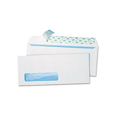 Quality Park - Redi-Strip Security Tinted Window Envelope, Contemporary, #10, White - 500/Box