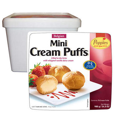 Poppies Belgian Mini Cream Puffs - 70 ct.