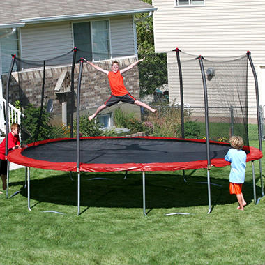 17' x 15' Oval Trampoline and Enclosure Combo - Red