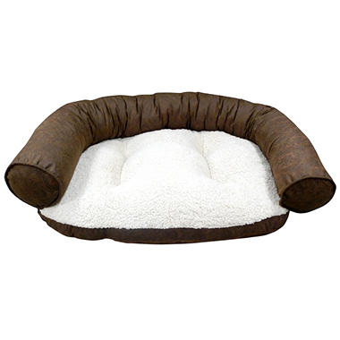 Butler Paisley Recliner Bolster Pet Bed - Chocolate
