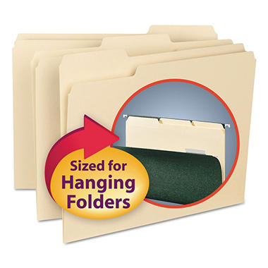 Smead 1/3 Cut Assorted Positions Interior File Folders for Hanging Files, Letter, Manila, 100ct.
