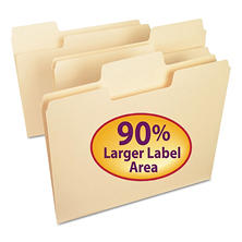 Smead 1/3 Cut Assorted Positions SuperTab Heavyweight File Folders, Letter, Manila, 100ct.
