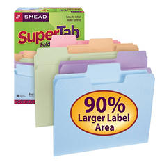 Smead 1/3 SuperTab File Folders, Assorted Colors (Letter, 50 ct.)