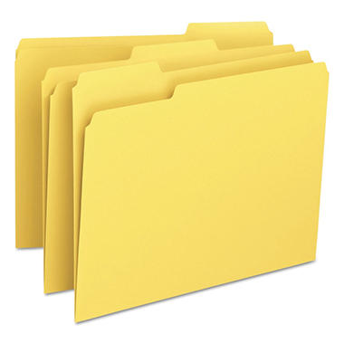 Smead - Yellow File Folders, 1/3 Tab - 100 Pack