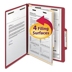 Smead 2/5 Cut Right of Center Tab Classification Folder, Four-Sections, Letter, Red, 10ct.