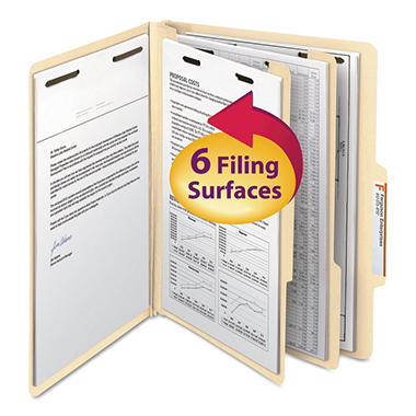 Smead 2/5 Cut Right of Center Position Classification Folders with Divider, Six Sections Letter, Manila, 10ct.