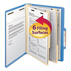 Smead 2/5 Cut Right of Center Tab Classification Folder, Six-Sections, Letter, Blue, 10ct.