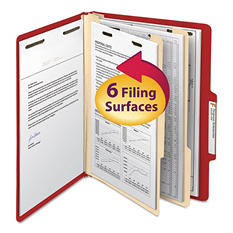 Smead 2/5 Cut Right of Center Tab Classification Folder, Six-Sections, Letter, Red, 10ct.