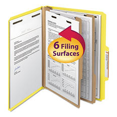 Smead 2/5 Cut Right of Center Tab Classification Folder, Six-Sections, Letter, Yellow, 10ct.