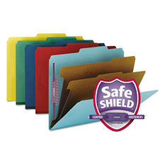 Smead Pressboard Classification Folders with Fasteners, Six Sections, Letter, Assorted Colors, 10ct.