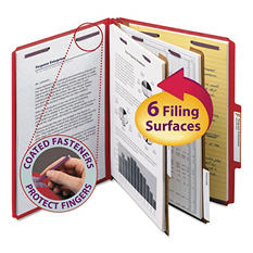 Smead Pressboard Classification Folders with Fasteners, Six-Sections, Letter, Blue, 10ct.
