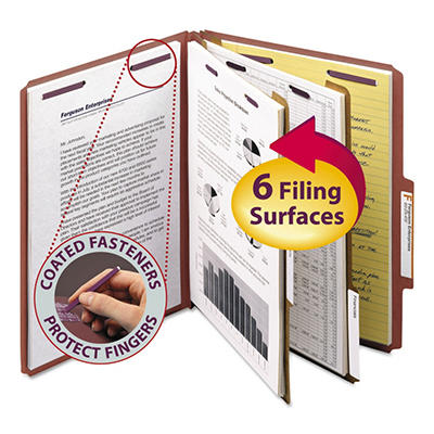 Smead 6-Section 2/5 Tab Pressboard Classification Folders, Select Color (Letter, 10 ct.)
