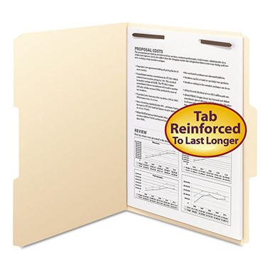 Smead 1/3 Tab One Fastener File Folders, Manila (Letter, 50 ct.)