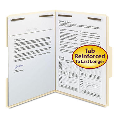 Smead 1/3 Tab Fastener File Folders, Manila (Letter, 50 ct.)