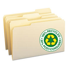 Smead 100% Recycled 1/3 Cut Assorted Position File Folders, Legal, Manila, 100ct.