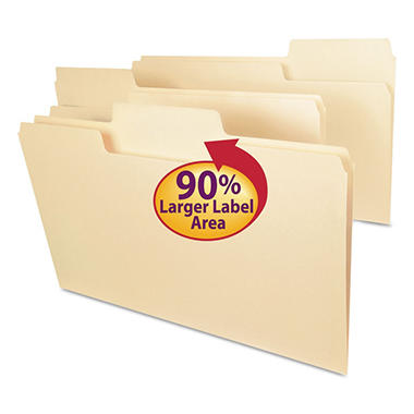 Smead - SuperTab Guide Height Reinforced Manila Folders - 100 Pack