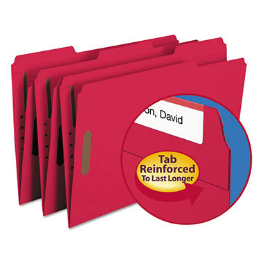 Smead 1/3 Cut Assorted Positions File Folders, Two Fasteners, Legal, Red, 50ct.