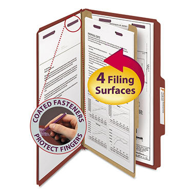 Smead 2/5 Cut Self Tab Pressboard Classification Folders, Four Sections, Legal, Red, 10ct.