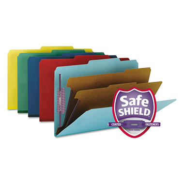 Smead 2/5 Cut Right of Center Position Pressboard Classification Folders with Fasteners, SixSections, Legal, Assorted Colors, 10ct.