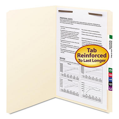Smead Straight Tab File Folders File Folders, One Fastener, Legal, Manila, 50ct.