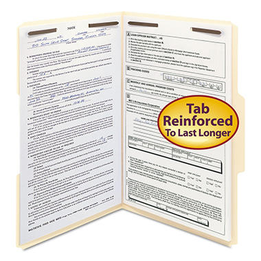 Smead - 1/3 Cut Tab File Folders with Fasteners, Legal - 50 Pack