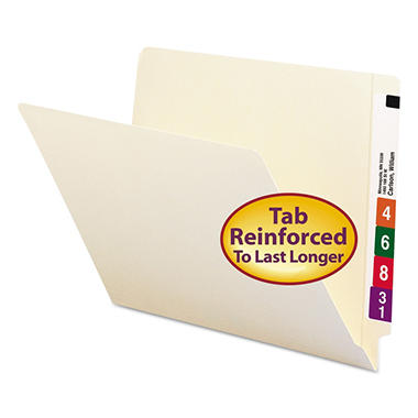 Smead Two-Ply Shelf Folders, End Tab, Letter, Manila, 100ct.