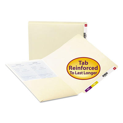 Smead Straight Tab Front Interior Pocket Folders, Manila (Letter, 50 ct.)
