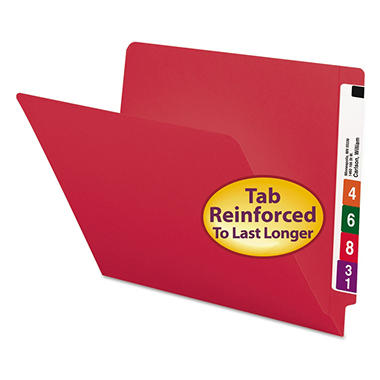 Smead File Folders, Reinforced End Tab, Letter, 100ct., Select Color