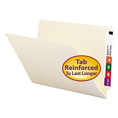 Smead Straight Cut Two-Ply End Tab Shelf Folders, Manila (Legal, 100 ct.)