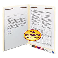 Smead Heavyweight File Folder, Reinforced Straight End Tab, Two Fasteners, Letter, Manila, 50ct.
