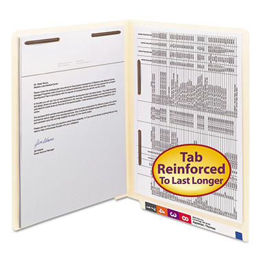 Smead End Tab Heavyweight File Folders, Two Fasteners (Front/Spine), Letter, Manila, 50ct.