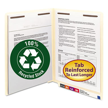 Smead - Recycled Manila End Tab Folders with Fasteners