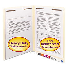 Smead Heavyweight File Folder, Reinforced Straight End Tab, Two Fasteners, 14 Point Stock, Letter, Manila, 50ct.
