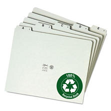 Smead Recycled A-Z Pressboard File Guides, 1/5 Cut Tab, Letter, Gray Green