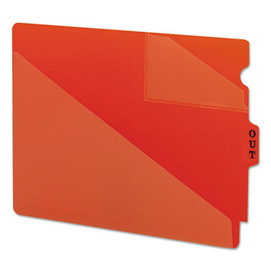 Smead Out Guides with Diagonal-Cut Pockets, Poly, Letter, Red, 50ct.