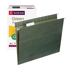 Smead 1/5 Cut Ajustable Positions Hanging File Folders, Letter, Standard Green, 50ct.