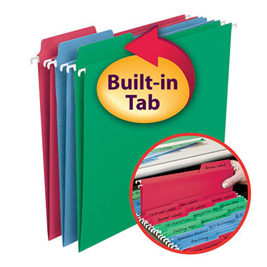 Smead FasTab Colored Hanging Folders, Letter - 30 Pack