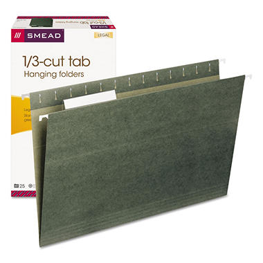 Smead 1/3 Tab Hanging File Folders, Green (Legal, 25 ct.)