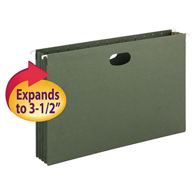 """Smead 3 1/2"""" Hanging File Pockets with Sides, Standard Green (Legal, 10 ct.)"""